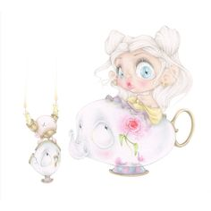 disney beauty beast chip mrs potts pop surrealism movie art print (82 AED) ❤ liked on Polyvore featuring home, home decor, wall art, movie wall art, movie home decor, disney wall art, disney and disney home decor