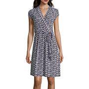 Liz Claiborne® Cap-Sleeve Diamond-Geo Wrap Dress