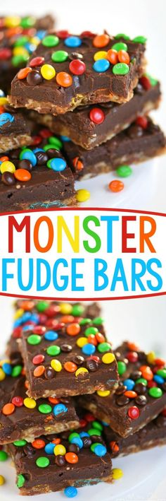 No one can resist these EASY Monster Fudge Bars! Oatmeal chocolate chip cookie bars topped with easy fudge and mini M&M's! This is one decadent treat!