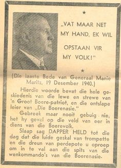 Geni - Photos in Photos from Maritz Rebellie 15 September 1914 - 4 Februarie 1915 Genl Manie Maritz Armed Conflict, My Childhood Memories, My Heritage, My Land, African History, World War I, South Africa, Growing Up, Teaching