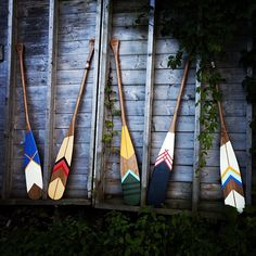 Artisan Canoe paddles from Norquay Co. are hand-painted cherry wood oars in beautiful designs that and are both decorative and functional. Painted Oars, Hand Painted, Beach House Style, Canoe And Kayak, Canoe Paddles, Deco Marine, Design Blog, Canoeing, Kayaking