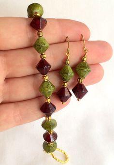 Handcrafted Bracelet & Earring Set Olive Green by DejaVuVintiques, $14.00