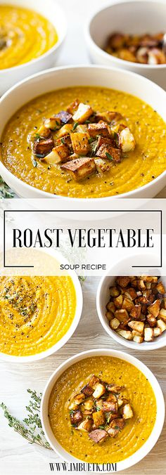 This Rustic, homely, nourishing & Delicious roast vegetable soup recipe is the tatse of English country chic. This Rustic, homely, nourishing & Delicious . Roast Vegetable Soup Recipe, Garden Vegetable Recipes, Roasted Vegetable Soup, Veggie Soup, Roasted Vegetables, Vegetable Puree Soup, Veggies, Roasted Tomatoes, Vegetarian Recipes