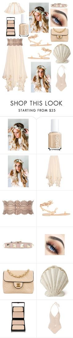 """Neutral"" by sarahcanavan ❤ liked on Polyvore featuring Emily Rose Flower Crowns, Chloé, Alaïa, Ancient Greek Sandals, Valentino, Chanel, AERIN, Sisley, La Perla and Alex Perry"