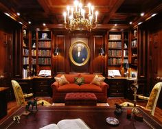 Bachelor Pad/Man Cave Decor - Page 2 - Home Library Rooms, Home Library Design, Home Libraries, Home Office Design, House Design, Office Designs, Luxury Office, Man Cave Home Bar, Study Office