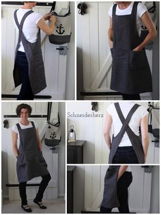Linen apron - Linen apron (and a shop spoiler) Informations About Schürze aus Leinen Pin You can easily use my pr - Sewing Hacks, Sewing Tutorials, Sewing Crafts, Sewing Projects, Sewing Ideas, Diy Clothing, Clothing Patterns, Sewing Patterns, Apron Patterns