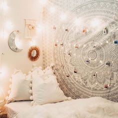 Beautiful white mandala designs on this white tapestry make it the perfect tapestry for any colored wall! Get this tapestry while we still have it in stock! Teen Room Decor, Room Ideas Bedroom, Girls Bedroom, Bedroom Decor, Wall Decor, Bedrooms, Bedroom Inspo, Design Bedroom, Dorm Pictures