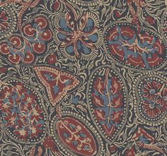 Cochin Navy / Red wallpaper by Thibaut