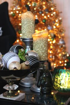 GOLD CHRISTMAS TREE Black and white stripe ornaments, green mercury glass candle holder, gold glitter pillar candles