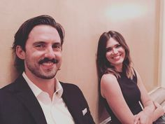 Mandy Moore: ''Also, I love this shot of Mi and me sitting on the floor, waiting to finish a day of interviews about @ nbcthisisus, moments after getting the good news that we get to play Jack and Rebecca for atleast 2 more years. Thanks for documenting this moment, @ miloanthonyventimiglia. #thisisus #stillpinchingourselves'' (via Mandy Moores Instagram)