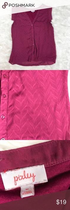 "Pixley stitch fix sleeveless V neck blouse medium Pixley for stitch fix sleeveless purple chevron blouse size medium. V neck with faux double shirt. Armpit to armpit 18"", length 25-27"" pixley Tops Tank Tops"