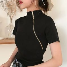 Buy Onnell Short-Sleeve Mock-Neck Striped Knit Top at ! Quality products at remarkable prices. FREE Worldwide Shipping available! Black Women Fashion, Asian Fashion, Latest Fashion For Women, Look Fashion, Teen Fashion, Fashion Outfits, Womens Fashion, Feminine Fashion, Tokyo Fashion