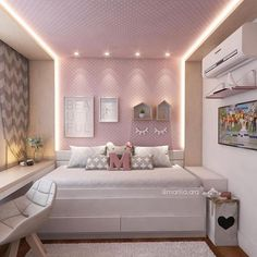 Modern Style Bedroom Design Ideas and Pictures. Looking for trendy vintage bedroom design and decorating ideas? Browse photo gallery for vintagebedroom sets to get inspired. Pick yours today! Teen Bedroom, Home Bedroom, Bedroom Decor, Bedrooms, Bedroom Ideas, Dream Rooms, Dream Bedroom, Girl Bedroom Designs, Cool Rooms