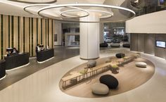Aedas Interiors creates a minimal aesthetic with sculptural forms for Novotel Century Hong Kong's high traffic lobby Home Office, Office Decor, Toddler Table And Chairs, Lobby Interior, Luxury Interior, Lounge Design, Hotel Lobby, Hospitality Design, Natural Forms
