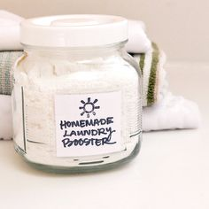 How to make your own eco-friendly homemade laundry booster to brighten laundry. Wash your clothes as usual with detergent, but add in 1/4 cup of this booster for a more thorough cleaning.