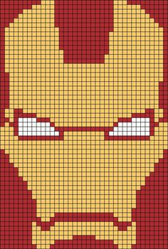 Iron Man face perler bead pattern