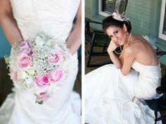 tea party styled shoot, bridal bouquet, baby's breath, mermaid dress