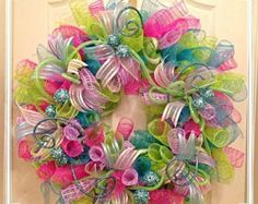 Spring Deco Mesh Wreath by CKDazzlingDesign on Etsy by avis (holiday door wreaths deco mesh) Spring Door Wreaths, Easter Wreaths, Summer Wreath, Holiday Wreaths, Deco Mesh Crafts, Wreath Crafts, Diy Wreath, Wreath Ideas, Wreath Making