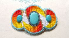 Wonderful barret with size 11 and 10 seedbeads made by Alexandra Reiner Etsy shop Chest of Beads Native American Beadwork, Barrette, Seed Beads, Rhinestones, Nativity, Crochet Earrings, Etsy Shop, Turquoise, Jewelry