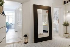 Furniture, Large Hallway Mirror With Brown Custom DIY Wood Frame In The Scandinavian Corriror Design With White Interior Color Decorating Ideas: 80 Interesting Hallway Mirror Ideas to Consider Applying in Your Home Apartment Interior, Hallway Mirror, House Styles, Home, Interior, Big Mirror, Apartment Interior Design, Entrance Hall Decor, Home Decor