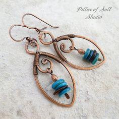 copper wire wrapped leaf earrings   jewelry by Pillar of Salt Studio