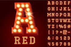 Light up red alphabet Graphics **Includes vector AI EPS for Illustrator and scalable smart PSD files for Photoshop users:**Scal by popskraft Parts Of The Letter, Cs6 Photoshop, Texture Web, Otf Font, Design Typography, Packaging, Object Lessons, Environmental Graphics