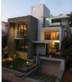 Architecture Drawing Discover Modern And Stylish Exterior Design Ideas - Stylendesigns Villa Design, Modern House Design, Box House Design, Big Modern Houses, Design Hotel, Modern Homes, Architecture Design, Facade Design, House Exterior Design