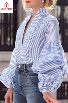 Fashion V-Neck Puff Sleeve Plaid Shirt blouse for women chic blouse for women chic casual blouse for women chic style blouse for women chic fashion designers blouse for women chic shirts Look Fashion, Fashion Outfits, Womens Fashion, Fashion Tips, Fashion Blouses, Fashion Trends, Stylish Outfits, Blouse Styles, Blouse Designs