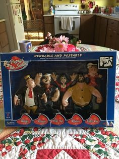 NIB 2003 Popeye the Sailor Man 5 BENDABLE and Poseable Character Figures | eBay