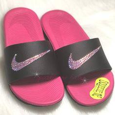 129983d4b524 Nike Slide Women s Bedazzled ~ Pink   Black ~ Swarovski ~ Crystalized ~  Custom Nike Slides ~ Bling Sandals ~ Customized by SparkleMeBaby2u