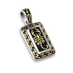 Stainless Steel Gold Plated Scorpion Tribal Tag Pendant