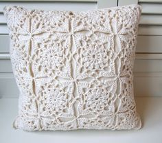 cream crochet cushion | Flickr - Photo Sharing!