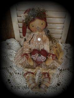 Primitive Snowman Girl Doll With Heart #NaivePrimitive