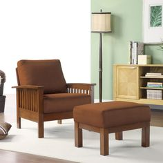@Overstock.com - Enrich your home decor with a mission-style chair and ottoman set   Furniture features a solid wood frame covered in microfiber  Living room set offers extra seating http://www.overstock.com/Home-Garden/Hills-Mission-style-Oak-Rust-Chair-and-Ottoman/4401049/product.html?CID=214117 $279.99