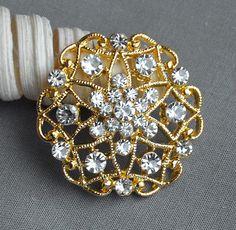 Strass 5 bouton embellissement cristal nacré or mariage broche Bouquet Invitation gâteau décoration cheveux peigne Clip BT534