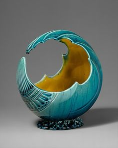 Meant to evoke Japanese aesthetics | Wave Bowl, ca. 1880. Linthorpe Pottery Works (1879–1882). Design attributed to Christopher Dresser (British, 1834–1904). The @Metropolitan Museum of Art, New York. Purchase, James David Draper Gift, in memory of Robert Isaacson, 2001 (2001.549)