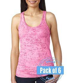 6011620471e2a3 Next Level Womens Burnout Racerback Tank Top N6533-Neon Pink-XX-Large (