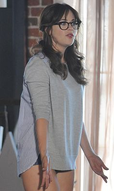 Zooey Deschanel's Grey sweater with striped back on New Girl.  Outfit Details: http://wwzdw.com/z/4682/ #WWZDW