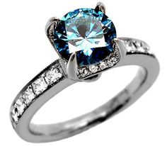 2.10ct Round Blue Diamond Engagement Ring 18k White Gold