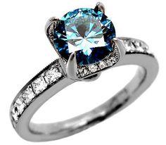 2.10ct Round Blue Diamond Engagement Ring 18k White Gold