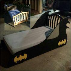 DIY Batmobile toddler bed for batman themed room Batman Toddler Bed, Baby Batman, Avengers Room, Batman Bedroom, Superhero Room, Diy Bed Frame, Room Themes, Kid Beds, Boy Room