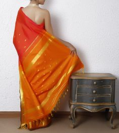 Red & Orange Silk Saree