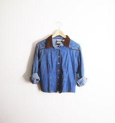 vintage  braided leather denim shirt
