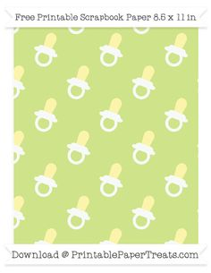 Free Pastel Lime Green Large Baby Pacifier Pattern Paper