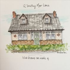 House Illustration, How To Draw Hands, Diy Crafts, Make Your Own, House Drawing, Hand Reference, Homemade, Craft, Diy Artwork