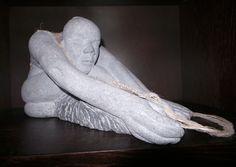 No. 5: Sonia Caldwell. Flaxweaver. Limestone. Woven Plant Fibres. 40 x 20 x 20. €950.