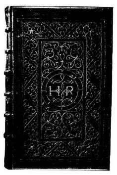 Biblia. Tiguri, 1543.   This Bible belonged to Henry VIII. It is bound in velvet, originally some shade of red or crimson, but now much faded. It measures 15 55by 9¼ inches. It is ornamented with arabesques and initials all outlined with fine gold cord. In the centre are the initials H. R., bound together by an interlacing knot, within a circle. Arabesques above and below the circle make up an inner panel, itself enclosed by a broad border of arabesques, with a double, or Tudor, rose in each...