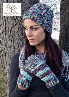 Multi Earthy tones hat and gloves set