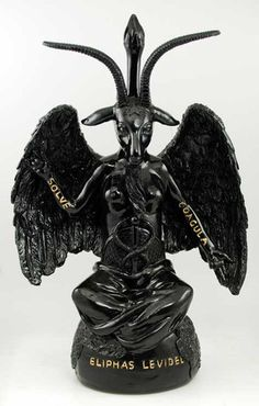 """Few images are so at the core of philosophical and theological debate as the figure of Baphomet.  Baphomet did not appear in manuscripts or writing until the 12th century, and thereafter the name and image has been a subject of debate and controversy almost wherever it appears.  Here Baphomet is depicted as the Sabbatic Goat, as first illustrated by Eliphas Levi in 1854 within his work """"Dogmas and Rituals of High Magic. As such, Baphomet appears as a winged humanoid goat with a pair of…"""