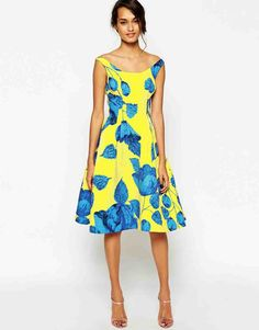 15 Summer Wedding Guest Outfits Yellow And Blue Outfit Asos Bardot Dress